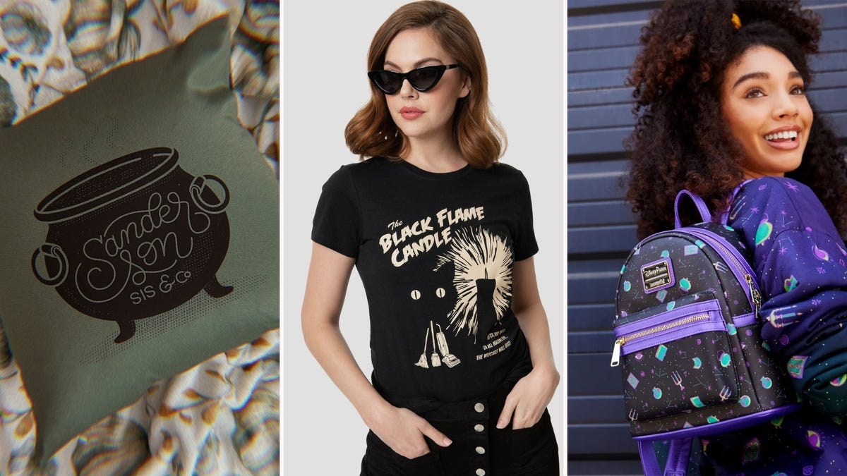 """A throw pillow with a cauldron design; a woman in a """"Black Flame Candle"""" T-shirt; a woman with a purple print backpack"""