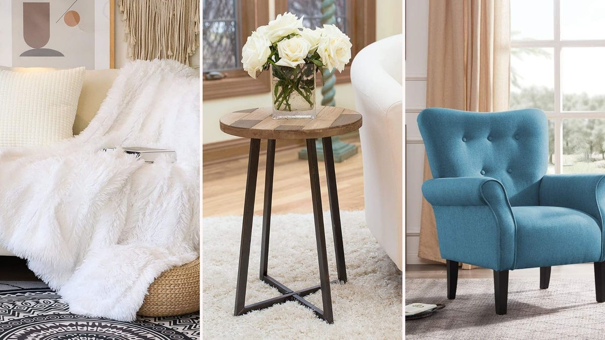 A throw on a couch; a wood side table; a blue accent chair