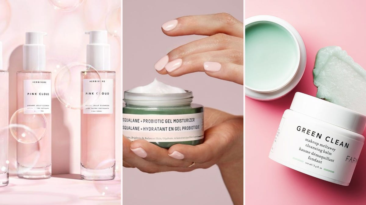 Bottles of pink cleanser; a hand holding up a jar of moisturizer; an open jar of green cleansing balm
