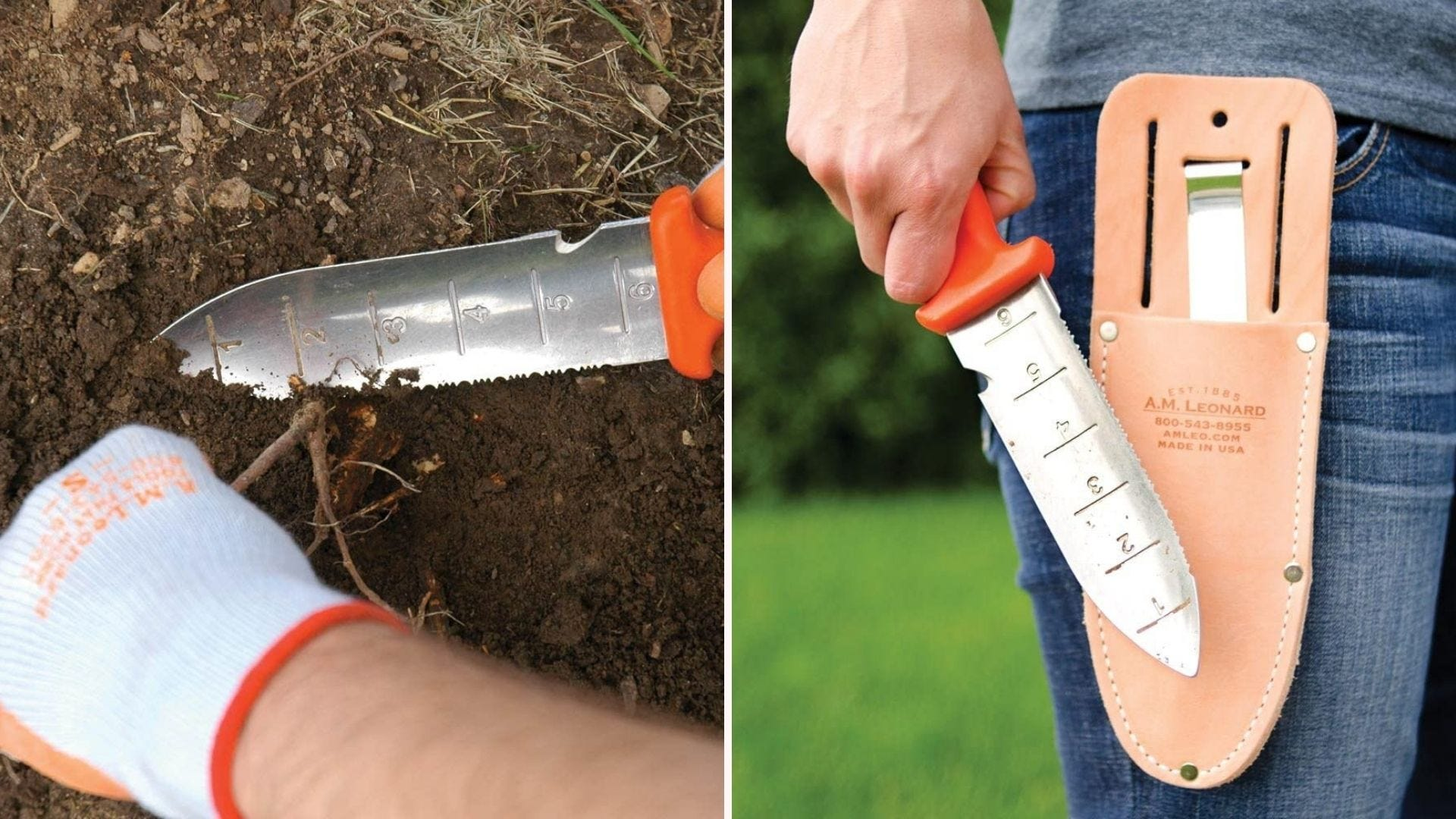 A soil knife in the dirt; a man holding a soil knife by its sheath
