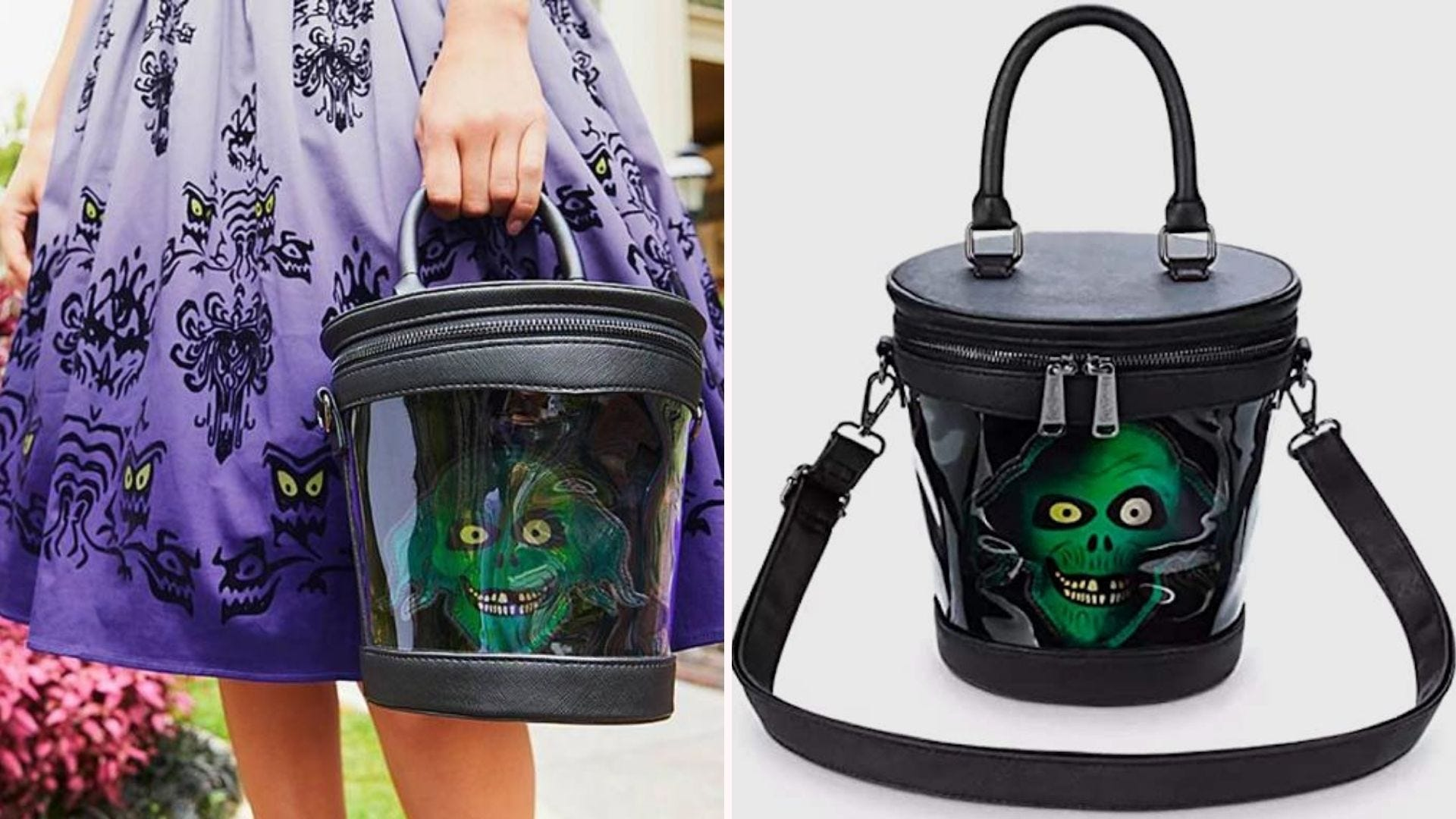A woman in a purple skirt holding a black bucket purse with the green Hatbox Ghost; close up of the same purse