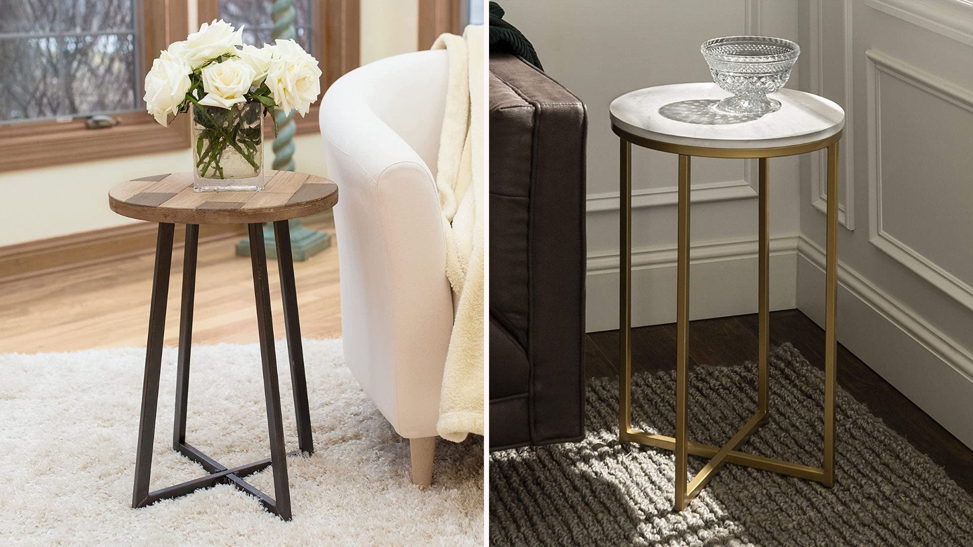 Two round accent tables next to chairs