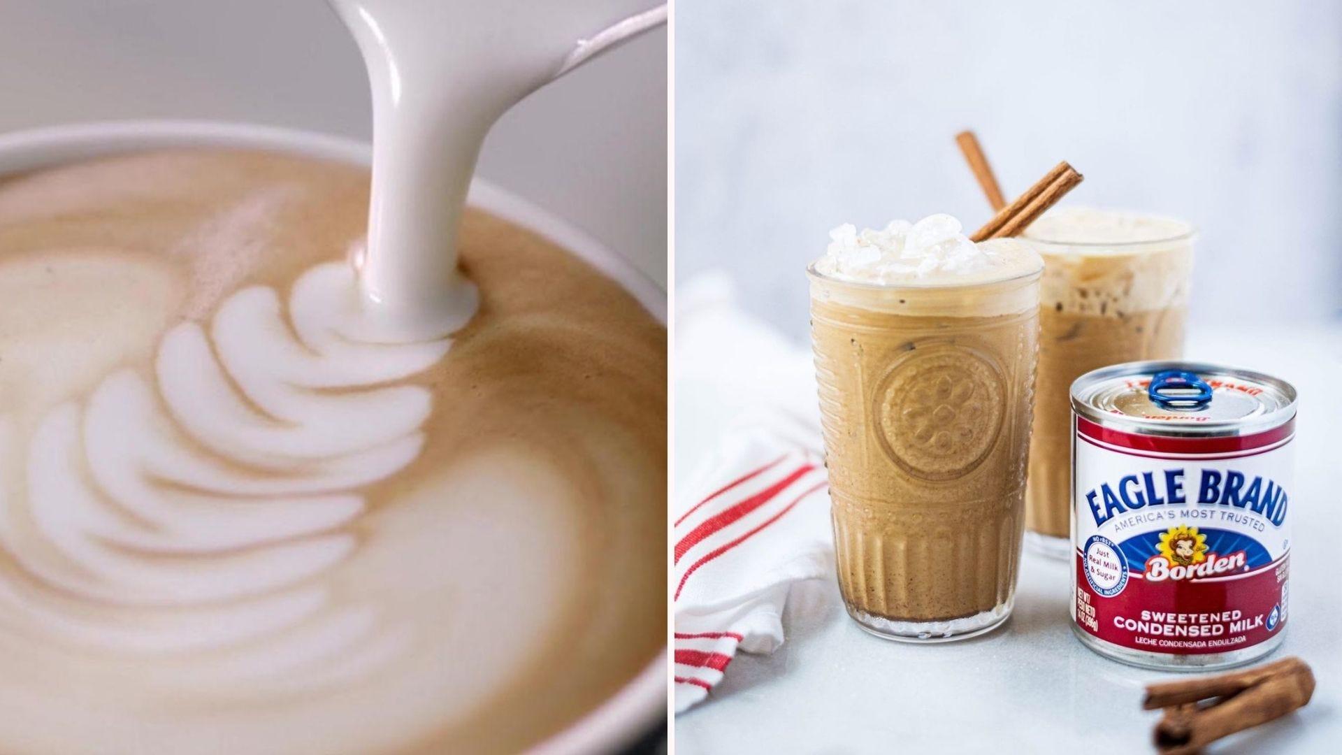 Leite com espuma derramando no café;  dois lattes gelados sentados ao lado de uma lata da marca Eagle