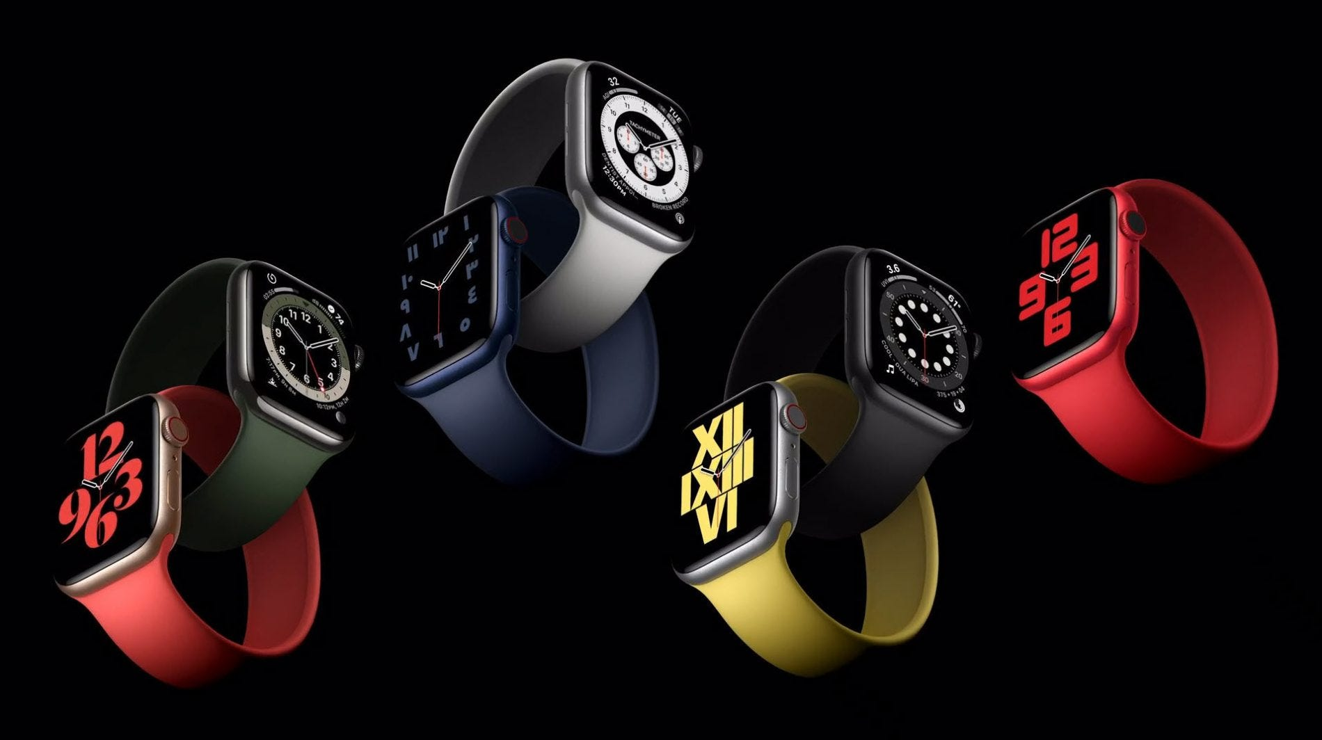 Different colors of Apple Watches on a black background.