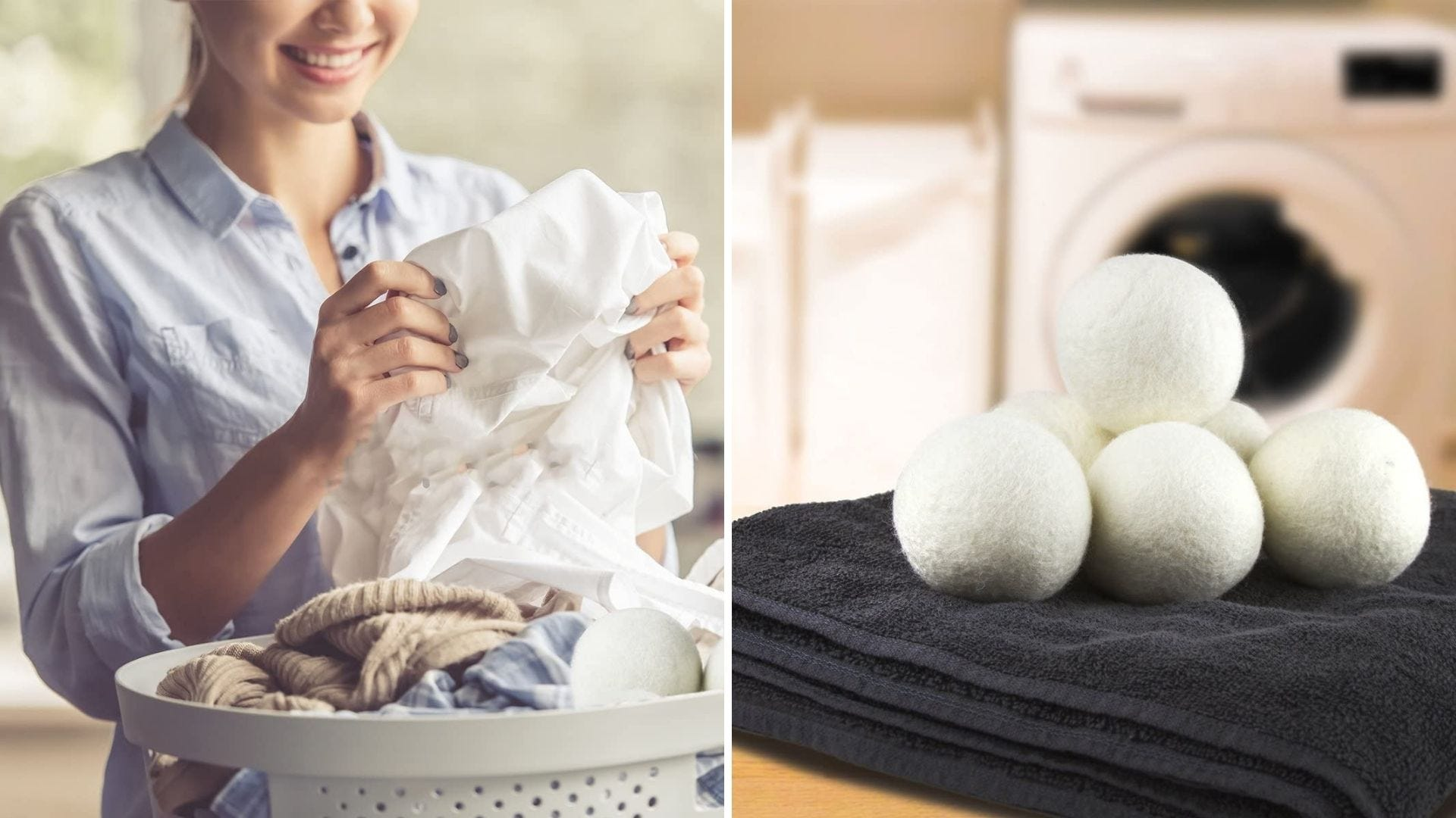 Someone pulls a shirt out of a laundry basket and a pile of wool laundry balls