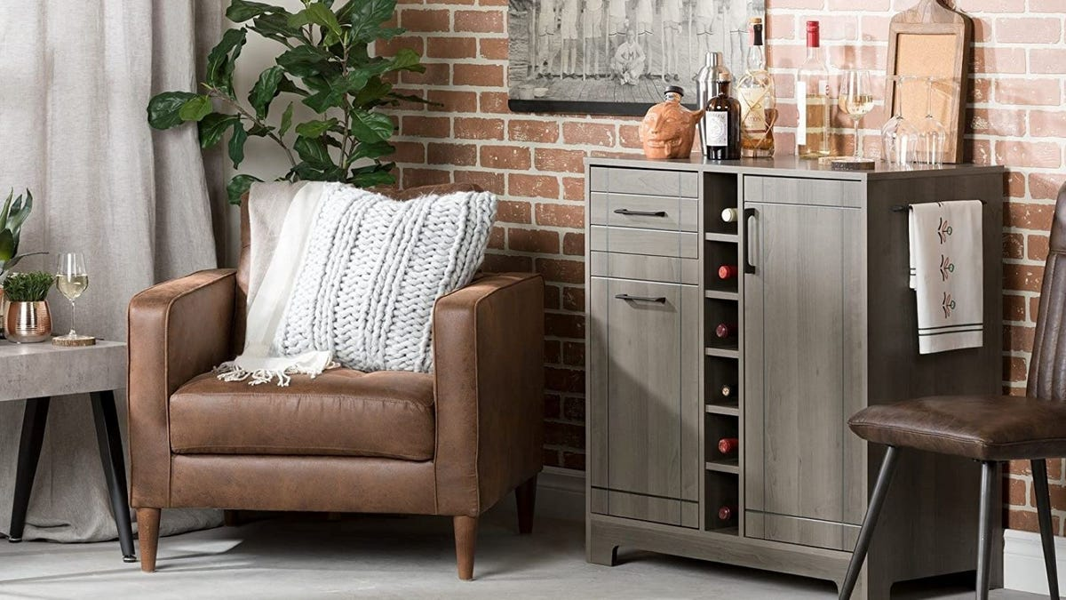 A South Shore Bar Cabinet in a living room.