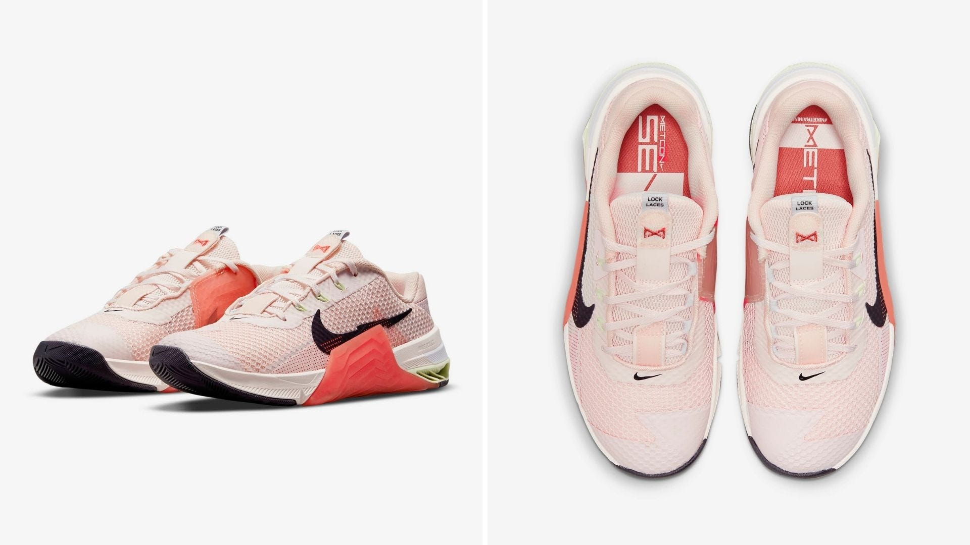 A pair of pink athletic shoes