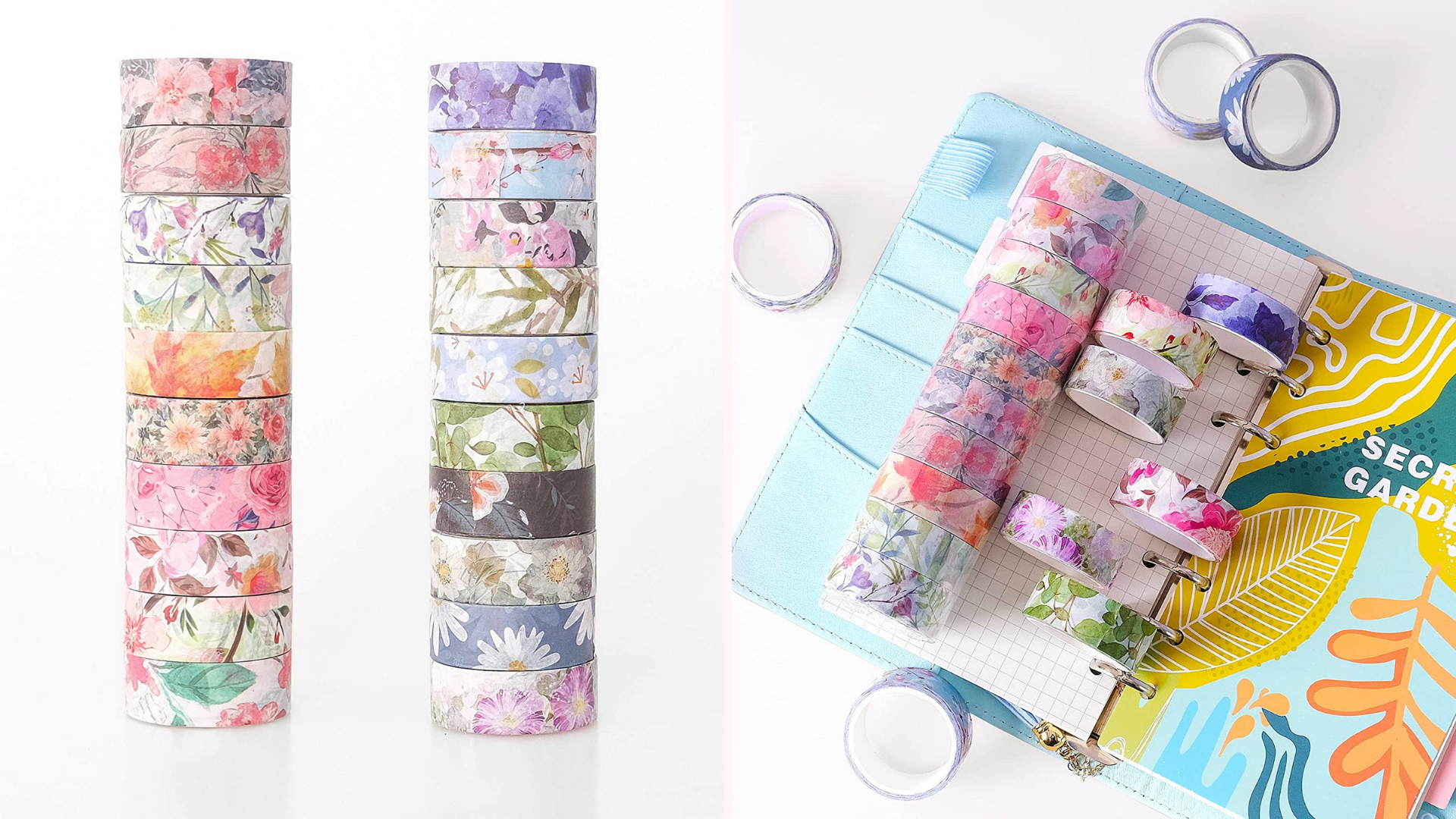 Multiple rolls of washi tape sits on top of a colorful notebook.