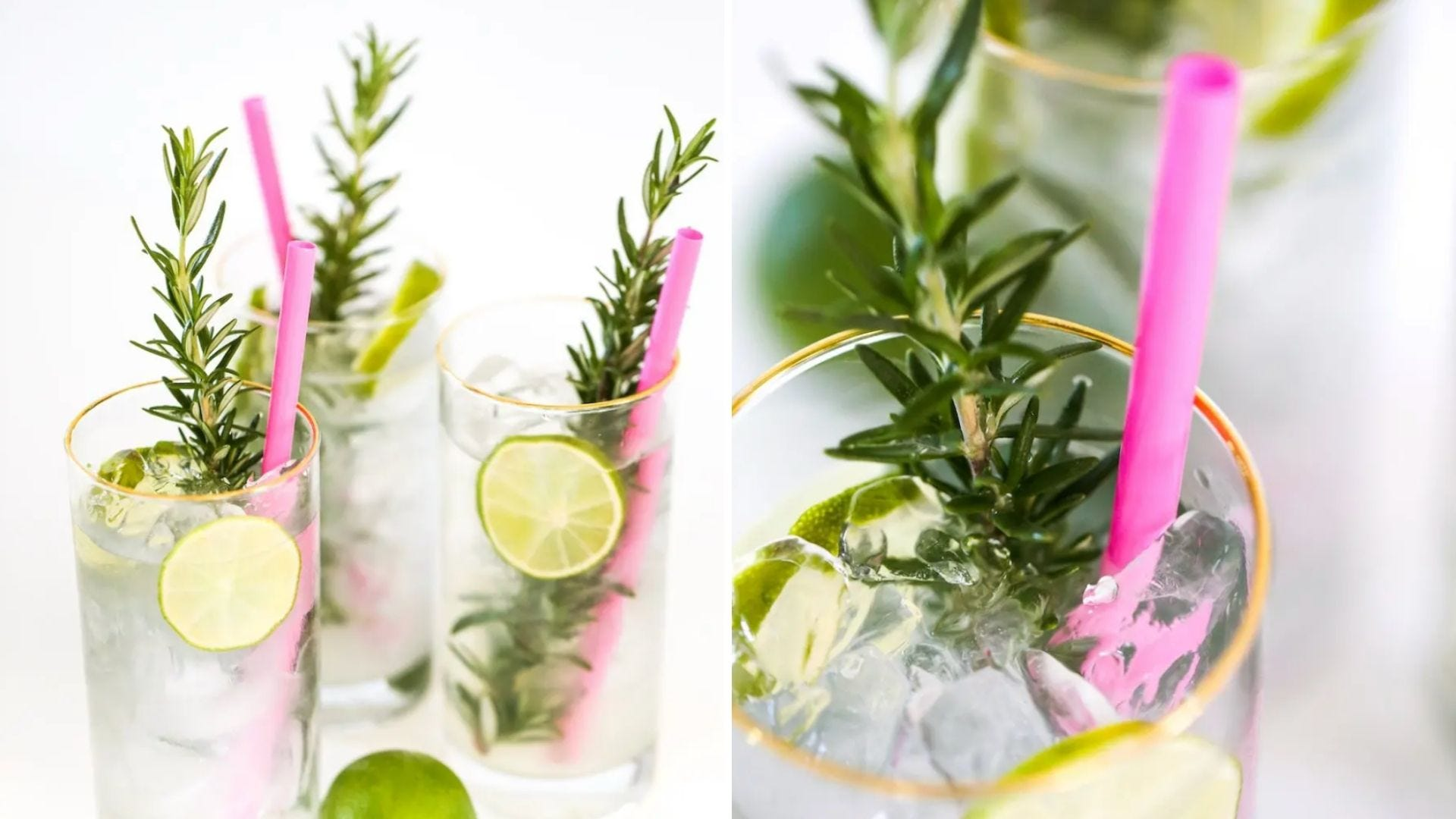 Tall glasses with limeade, lime slices, and rosemary inside