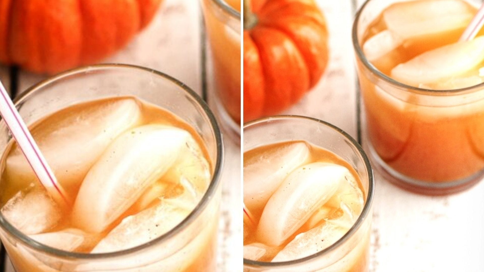 Glasses with a pumpkin drink inside and ice cubes on top
