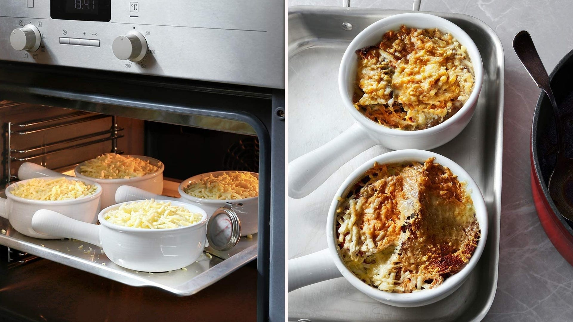 Two images displaying the Tauci French onion crocks.
