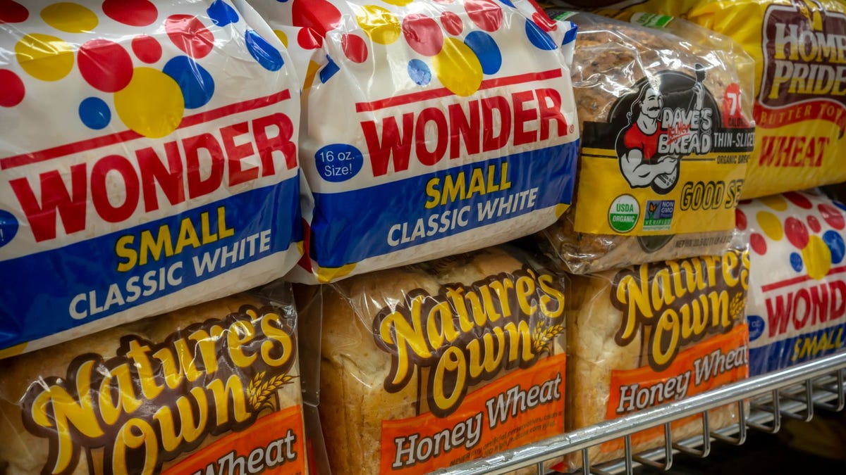 The bread aisle in a grocery store.