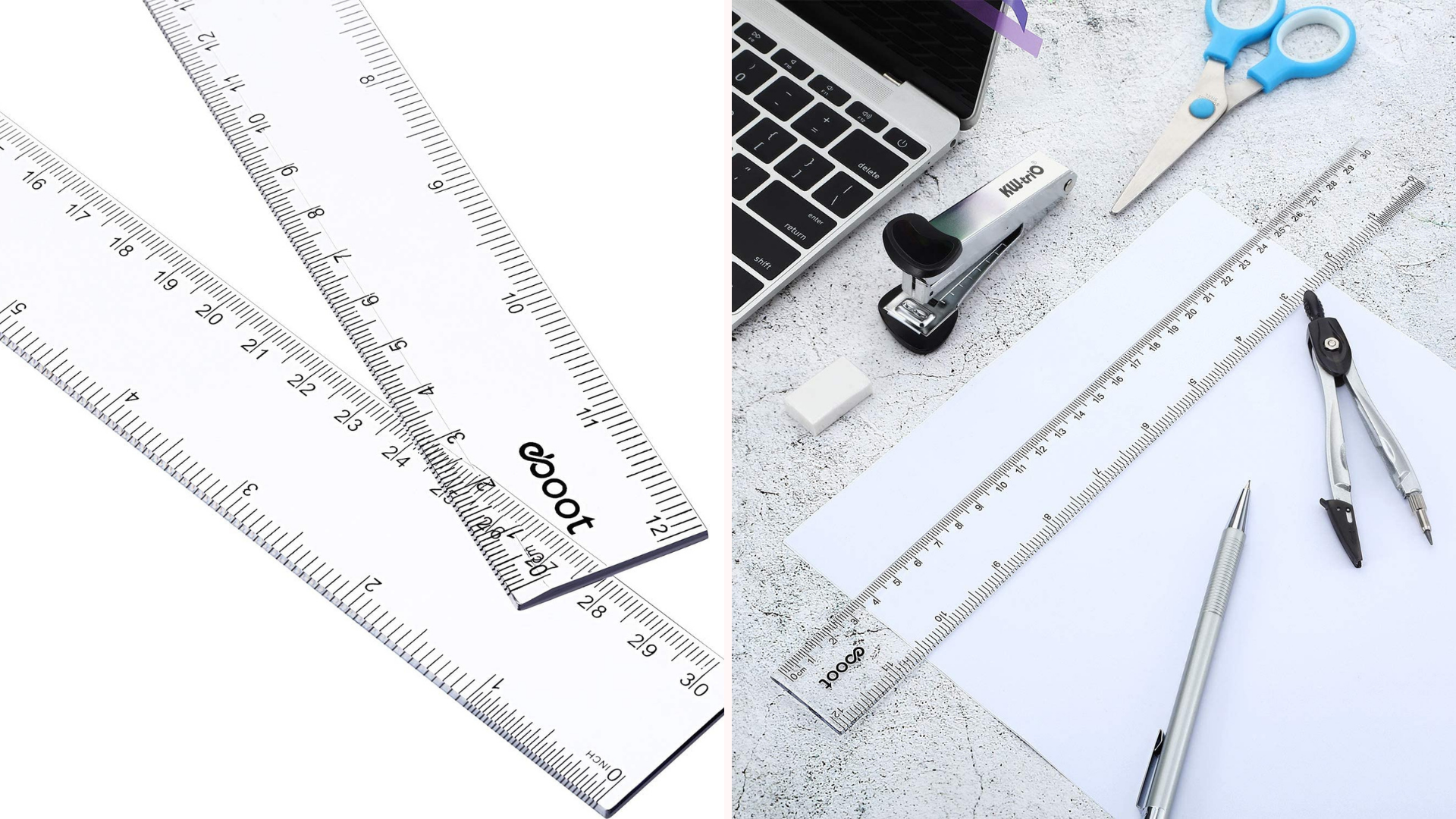 A ruler sits on top of a piece of paper surrounded by pens and a computer.