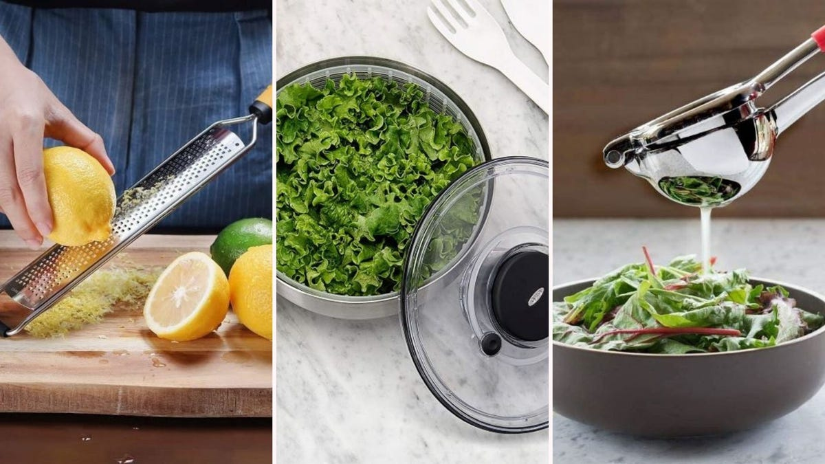 Someone zesting a lemon with the Deiss Pro Zester, leafy greens in the OXO salad spinner, and someone using the Bellemain Premium Lemon Squeezer on a salad.