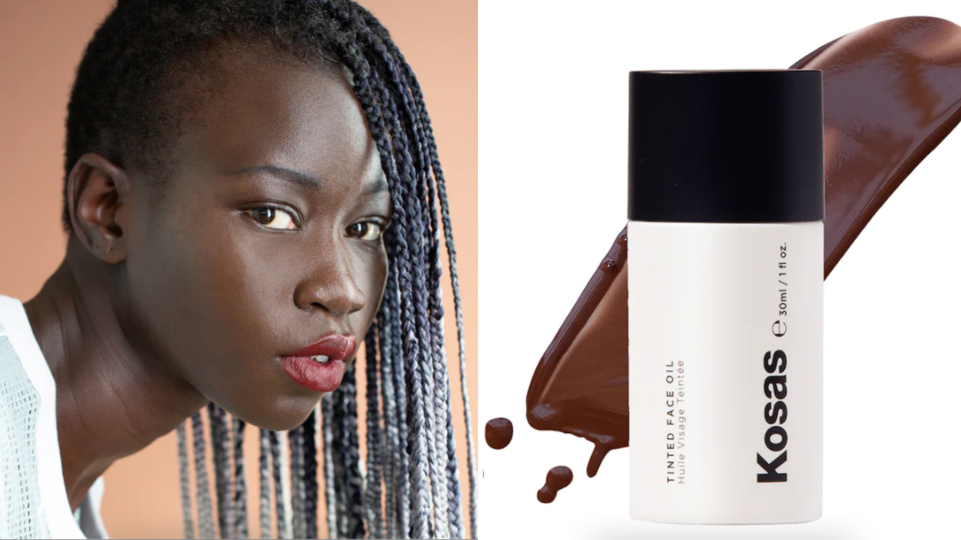 A woman wears a light coverage oil-foundation.