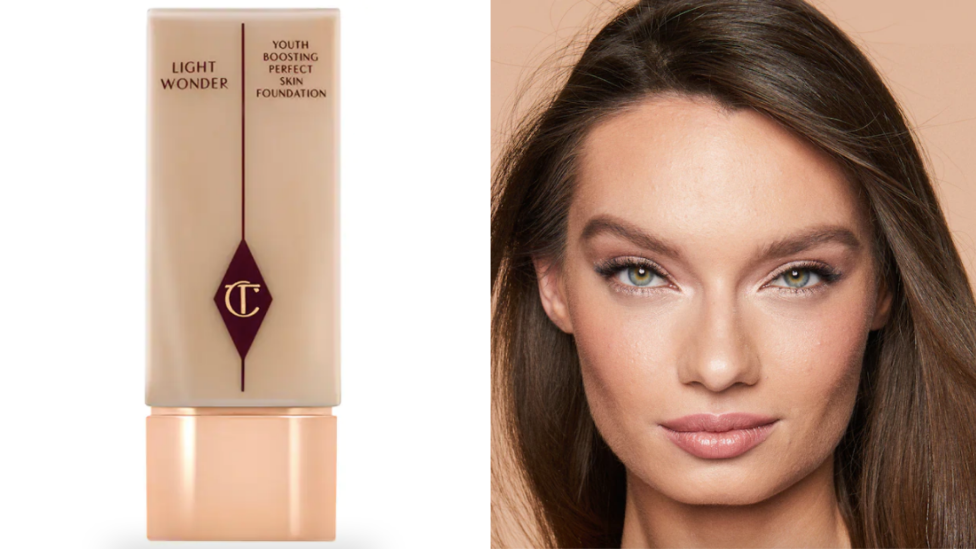 A bottle of foundation is next to a smiling woman.