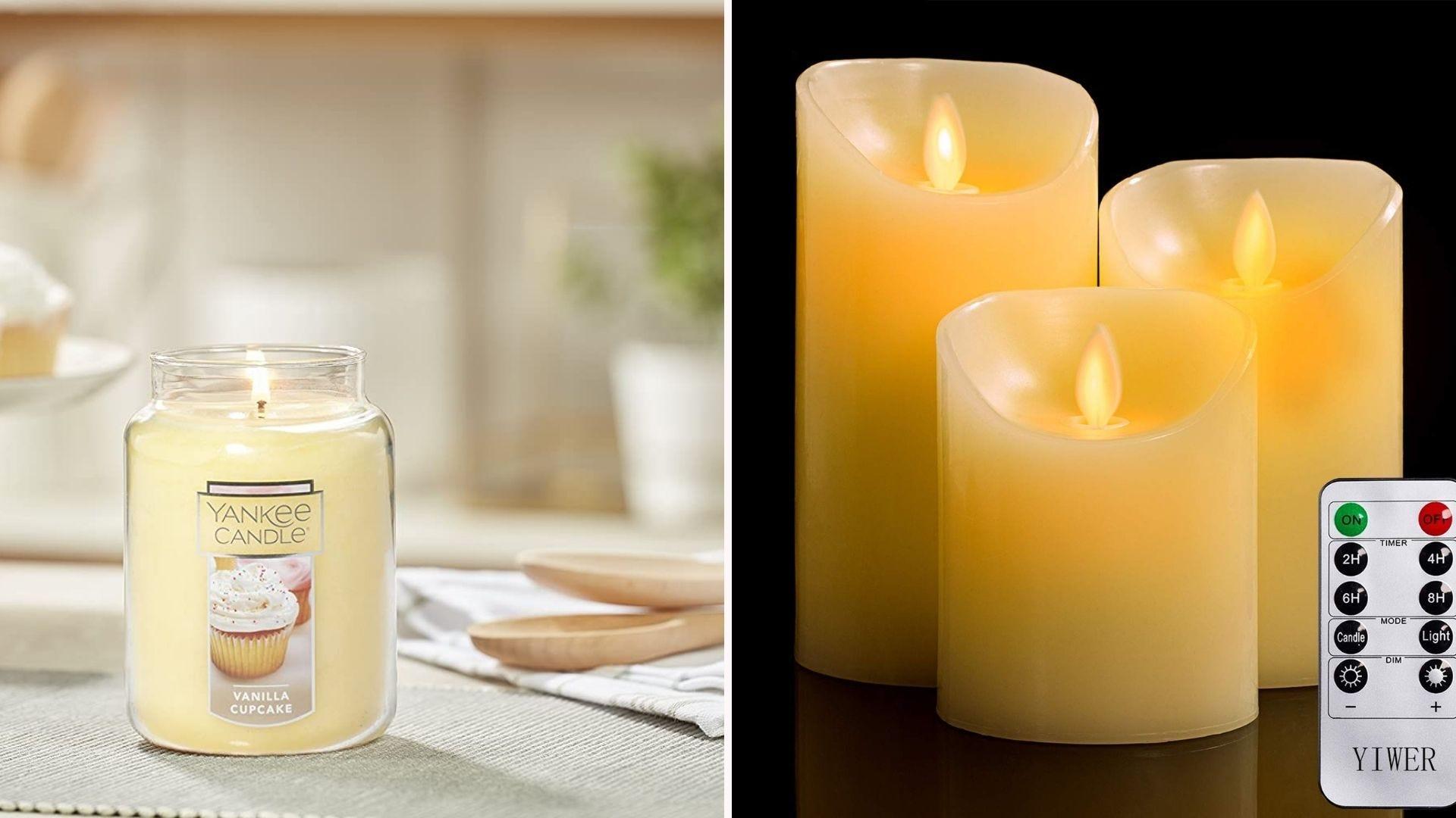A candle in a jar; three fake pillar candles