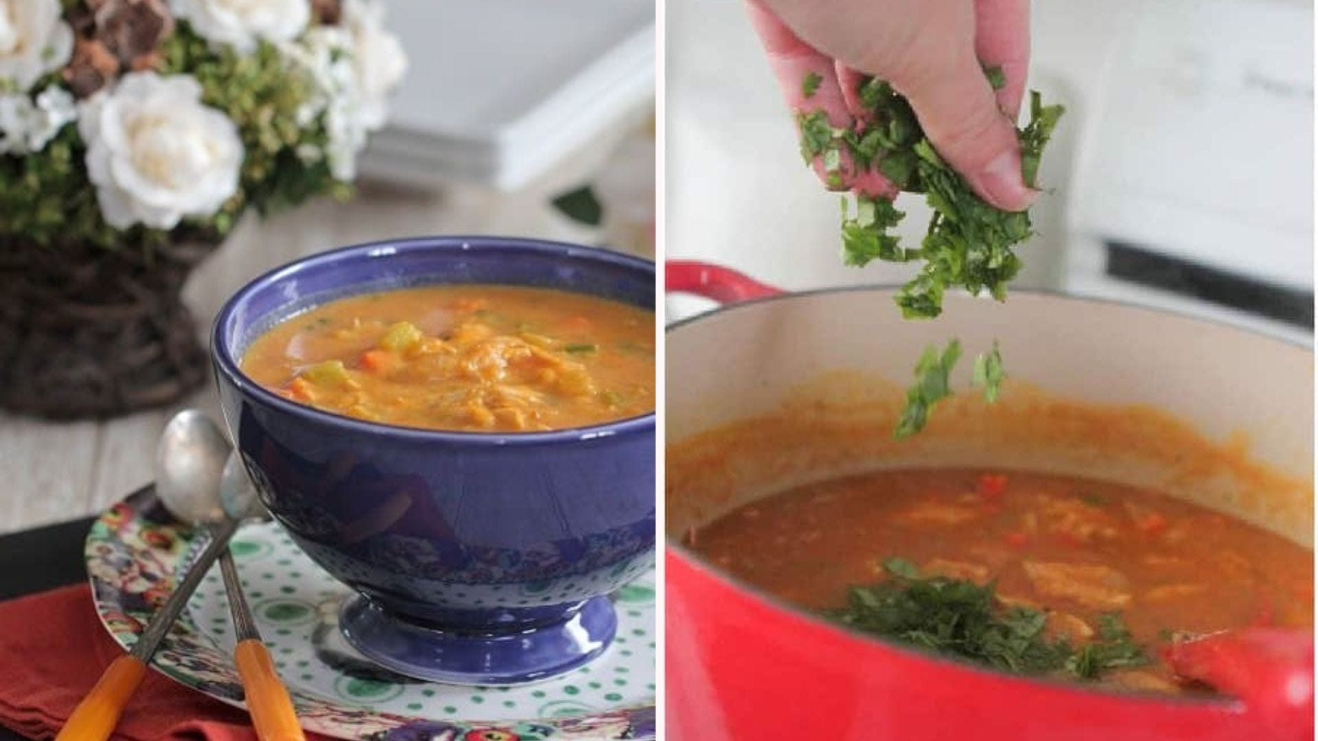 A blue bowl filled with pumpkin chicken soup; a hand sprinkling cilantro into a pot of soup