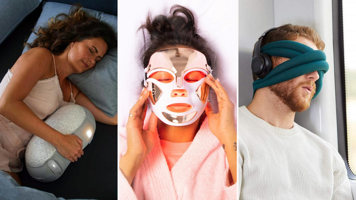 A woman sleeps with a robot pillow. A woman uses an LED light mask. A man has a mask wrapped around his head.