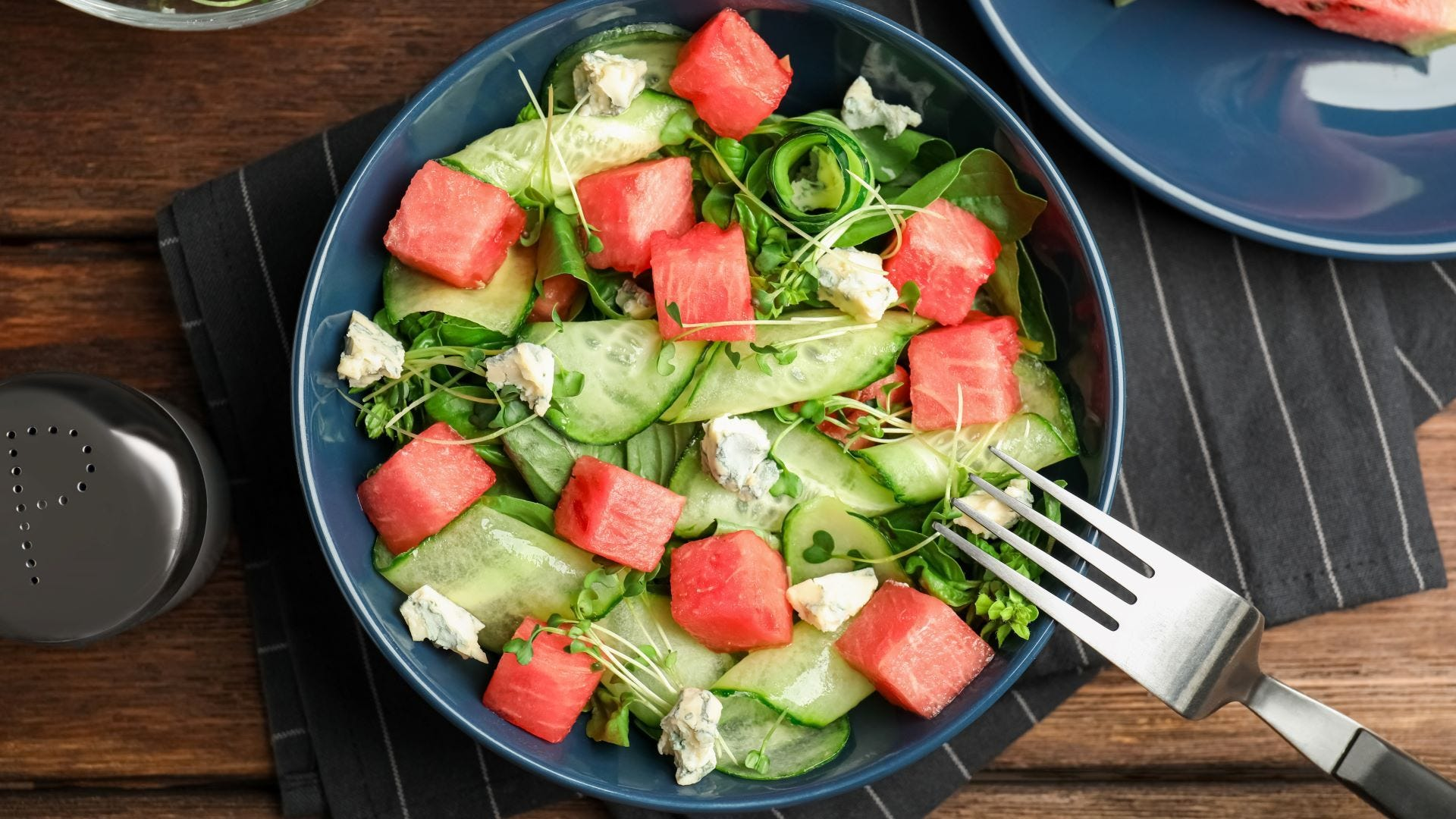 A cucumber and watermelon salad.