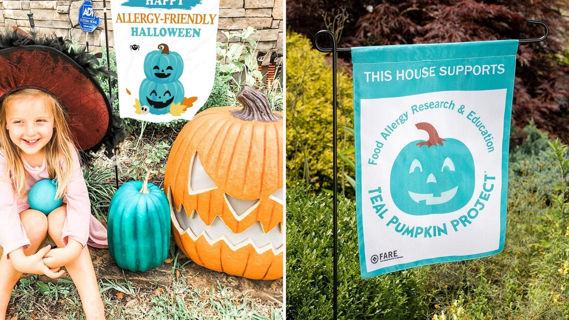 Halloween decorations and signs indicating a home has allergy-friendly treats.
