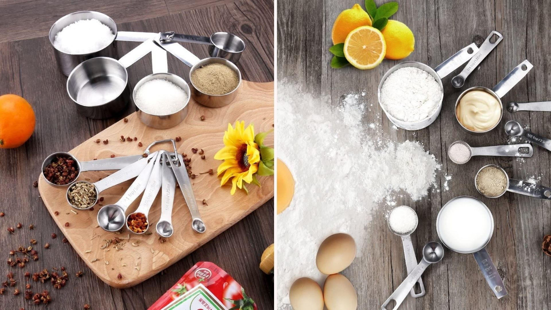 Stainless steel measuring cups and spoons spread out on the counter with different ingredients
