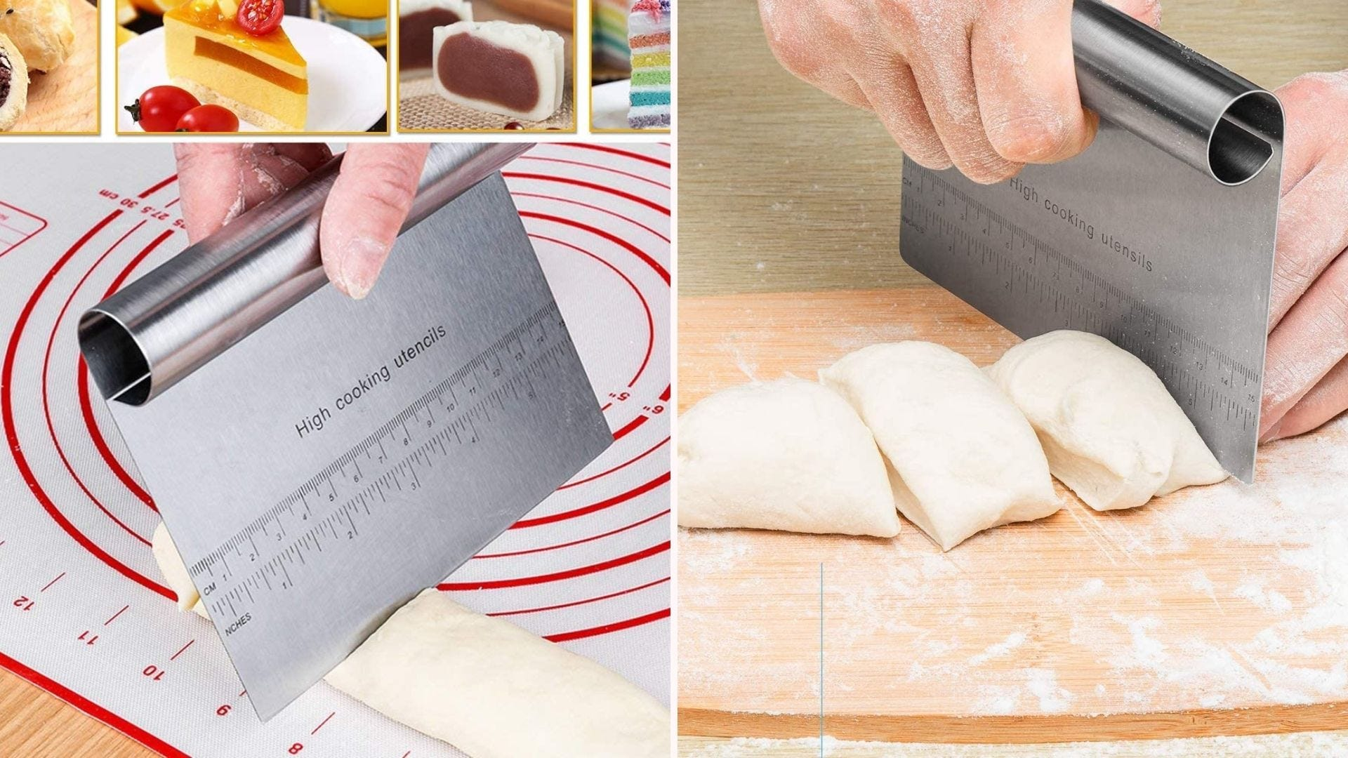 A dough scraper and cutter being used on loaves of bread dough