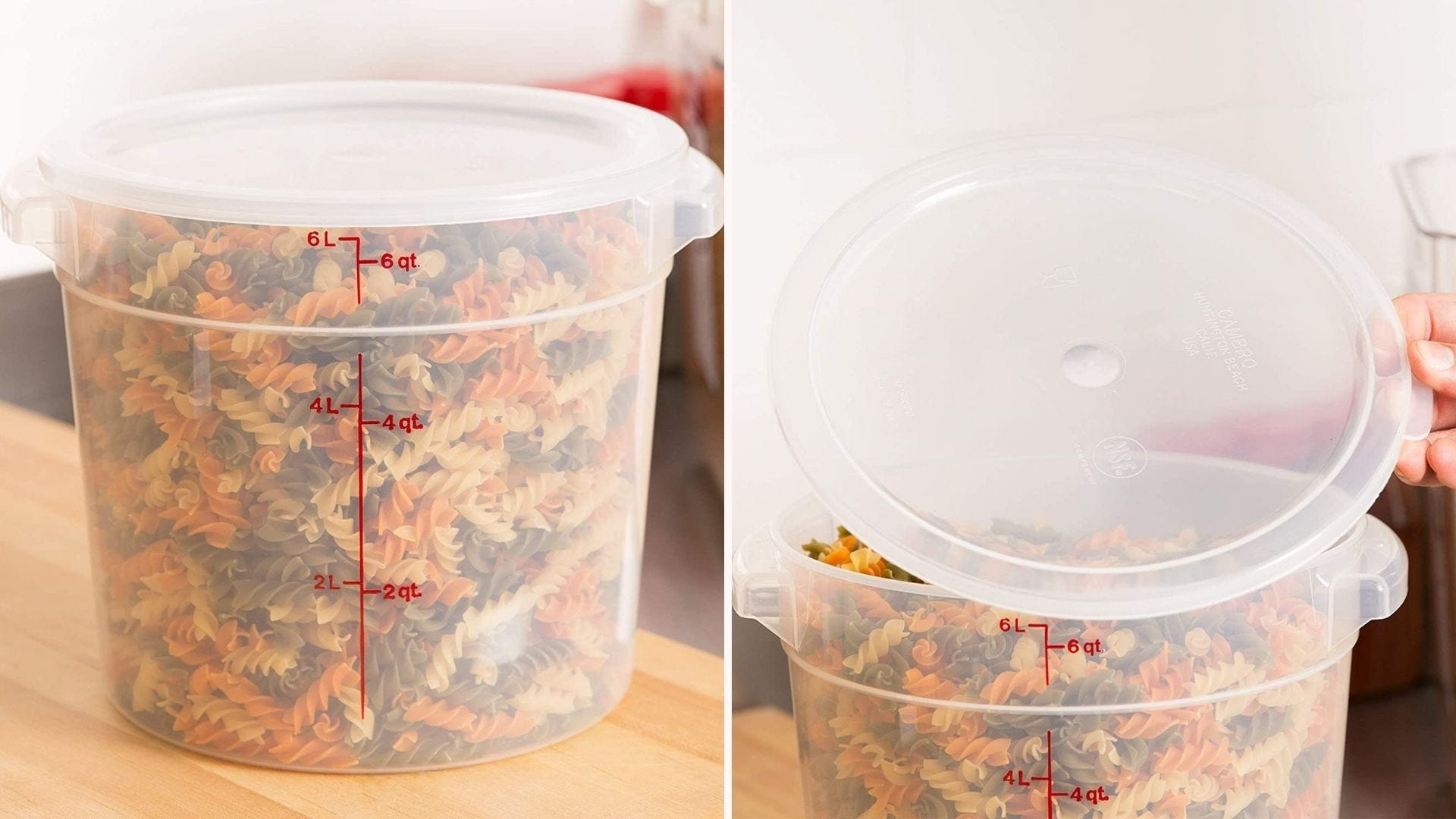 A clear plastic container filled with dry pasta