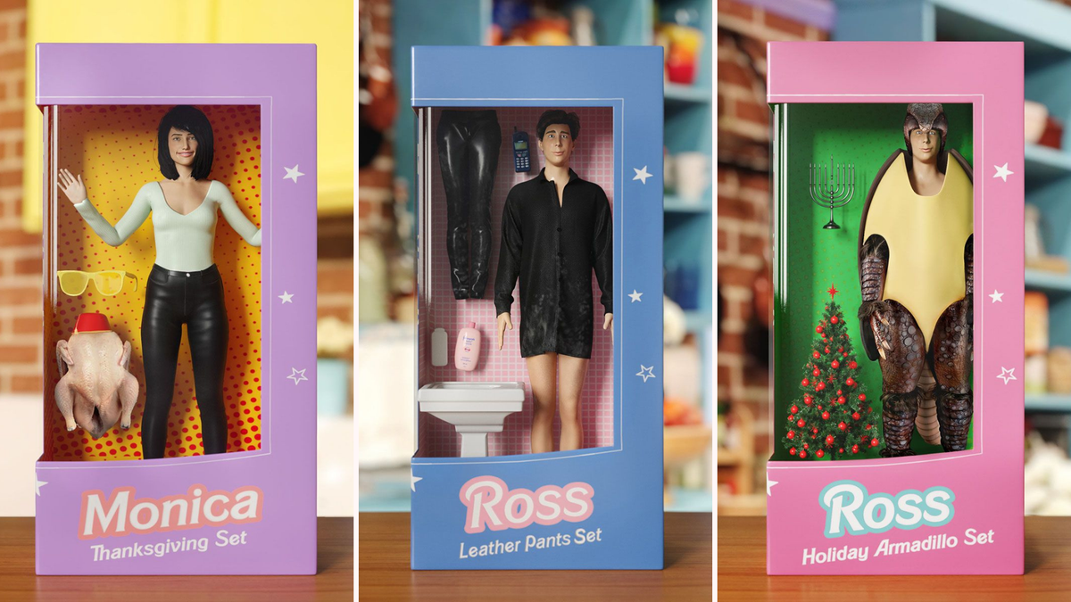 Monica and Ross from Friends are transformed into Barbies.