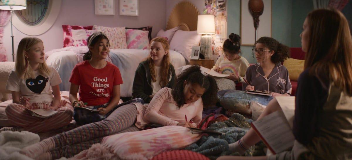 Shay Rudolph, Kyndra Sanchez, Vivian Watson, Mallory Pike, Anais Lee, Momona Tamada, Malia Baker, and Sophie Grace star in The Babysitters Club.