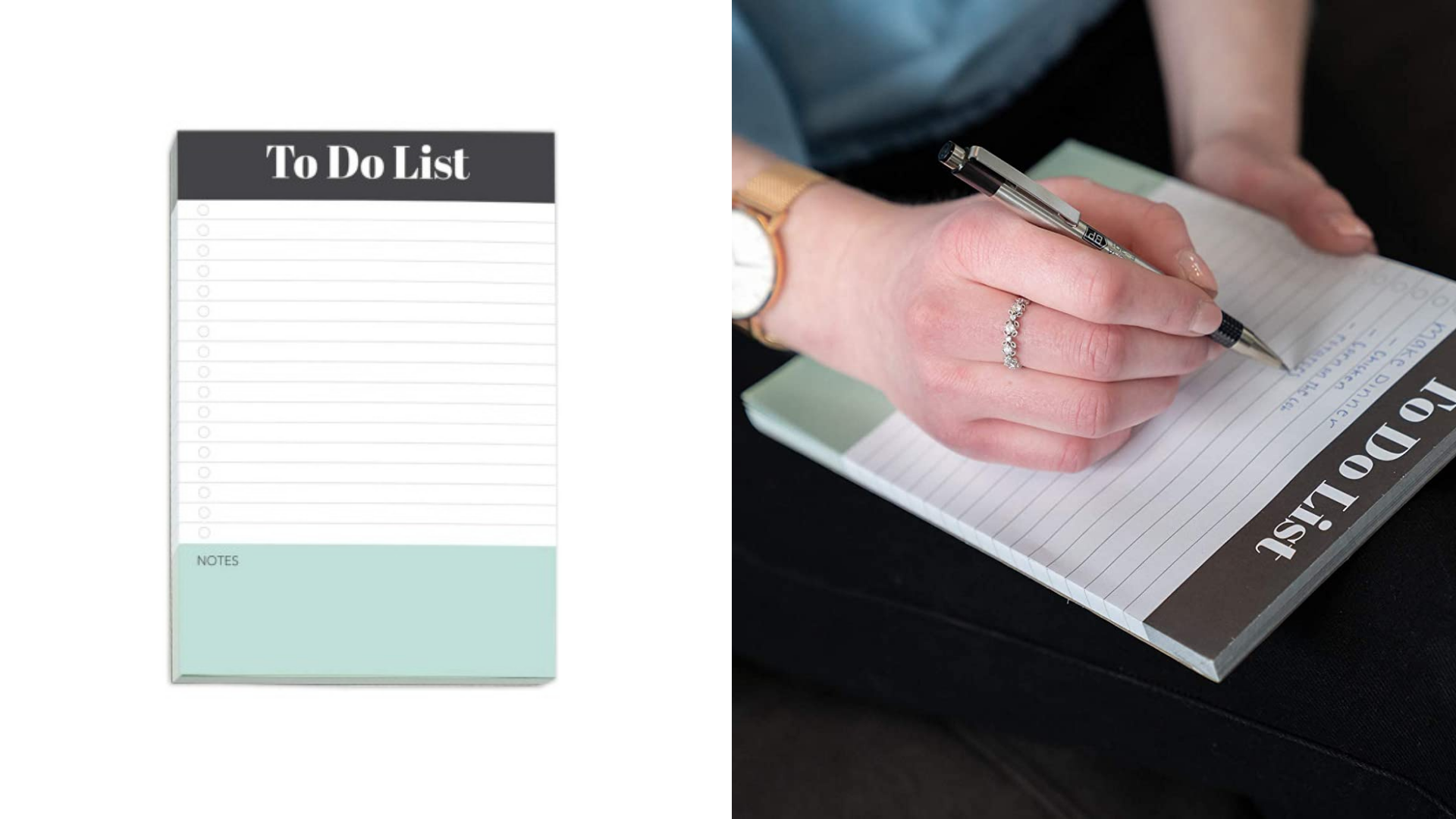 Une personne écrit des notes sur un bloc-notes de liste de tâches.