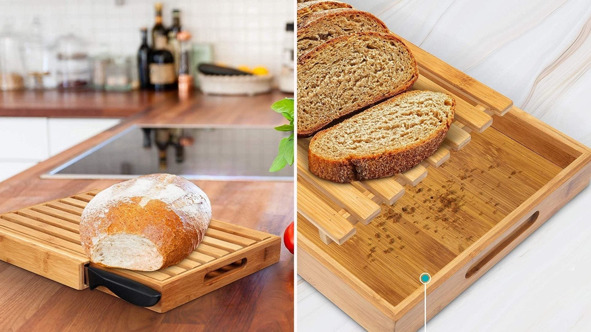 A loaf of bread on a cutting board; a sliced loaf of bread with a crumb tray beneath it