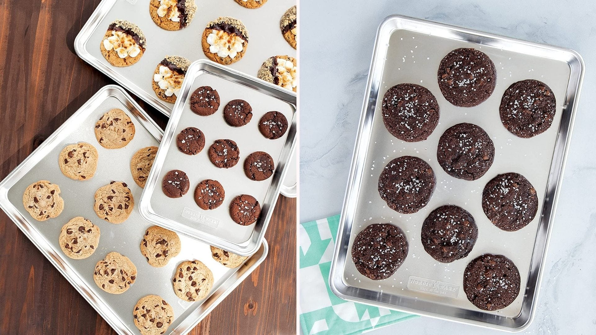 Sheets of cookies on silver baking sheets
