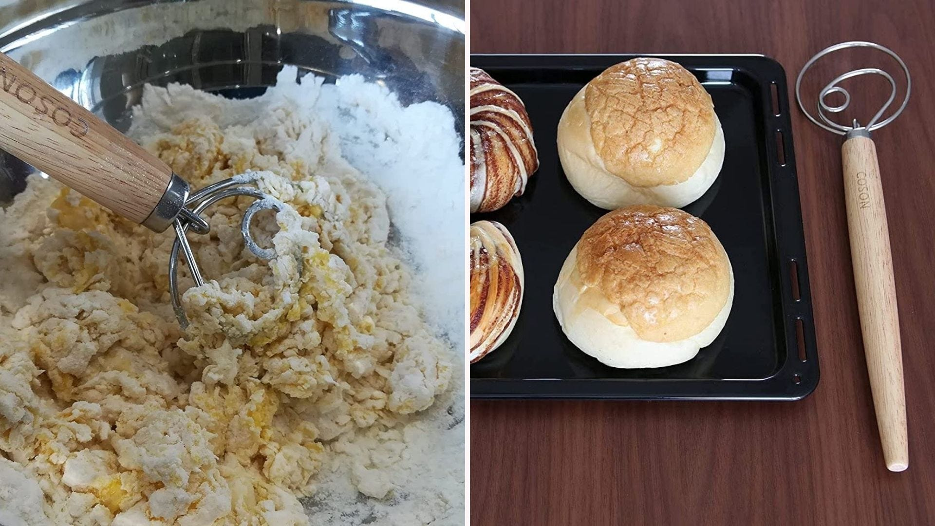 A dough whisk mixing dough; a dough whisk sitting next to a tray of rolls