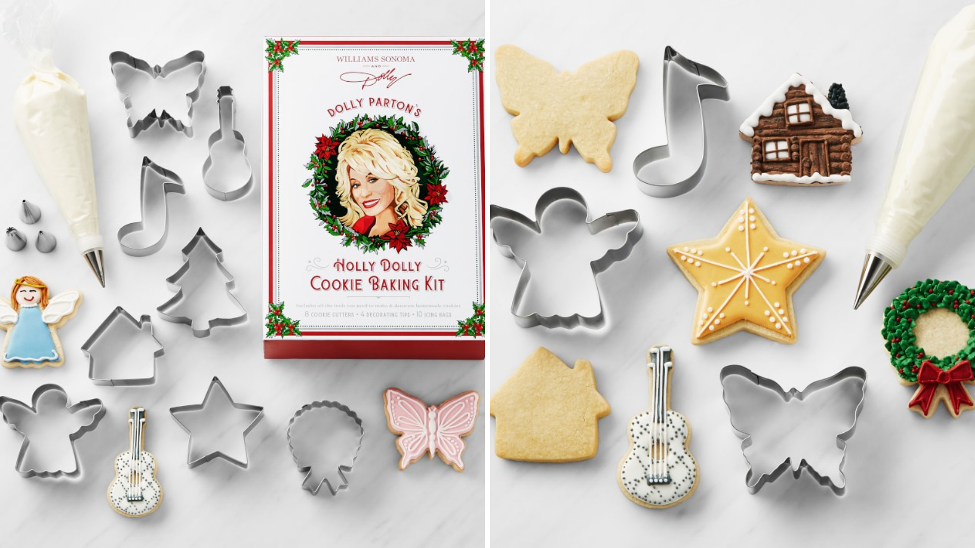 Cookie cutters surround a Dolly Parton baking kit.