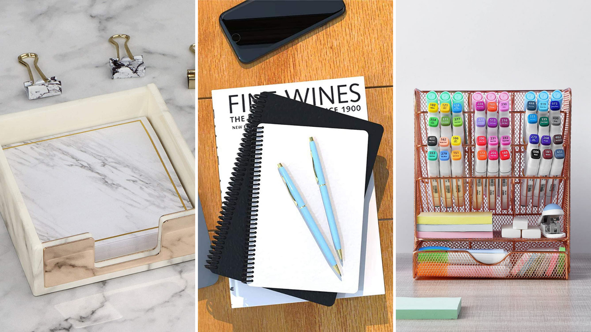 A notepad, blue pens, and an pen organize sit on different desks.