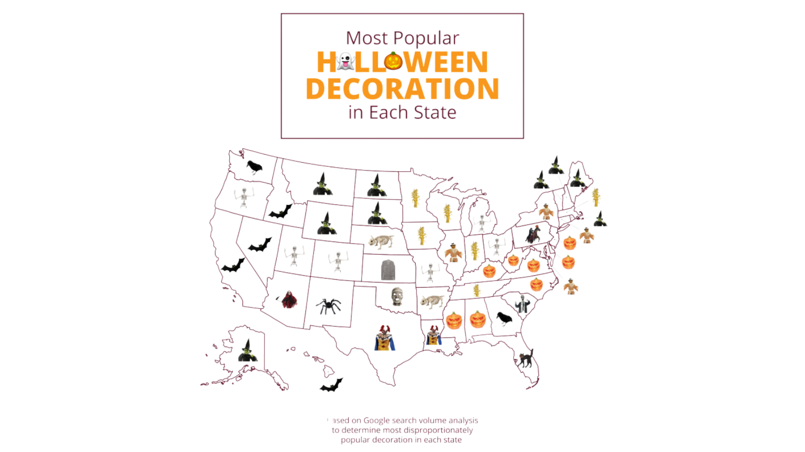 A map shows which types of Halloween decorations are most popular in each state.