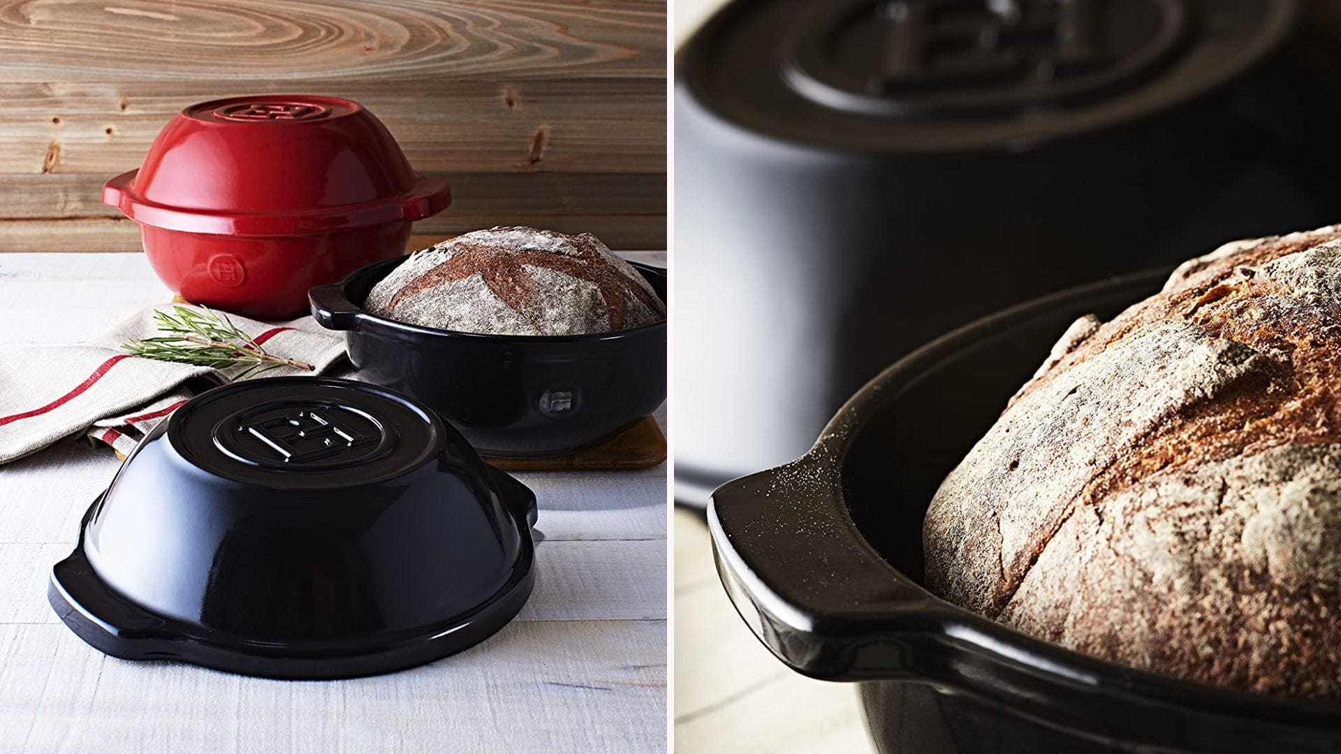 A loaf of bread in a black ceramic pot; a close up of the same loaf in pot