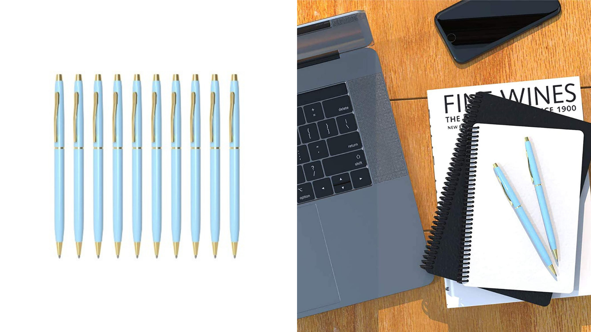 Two pens sit on top of a stack of notebooks.