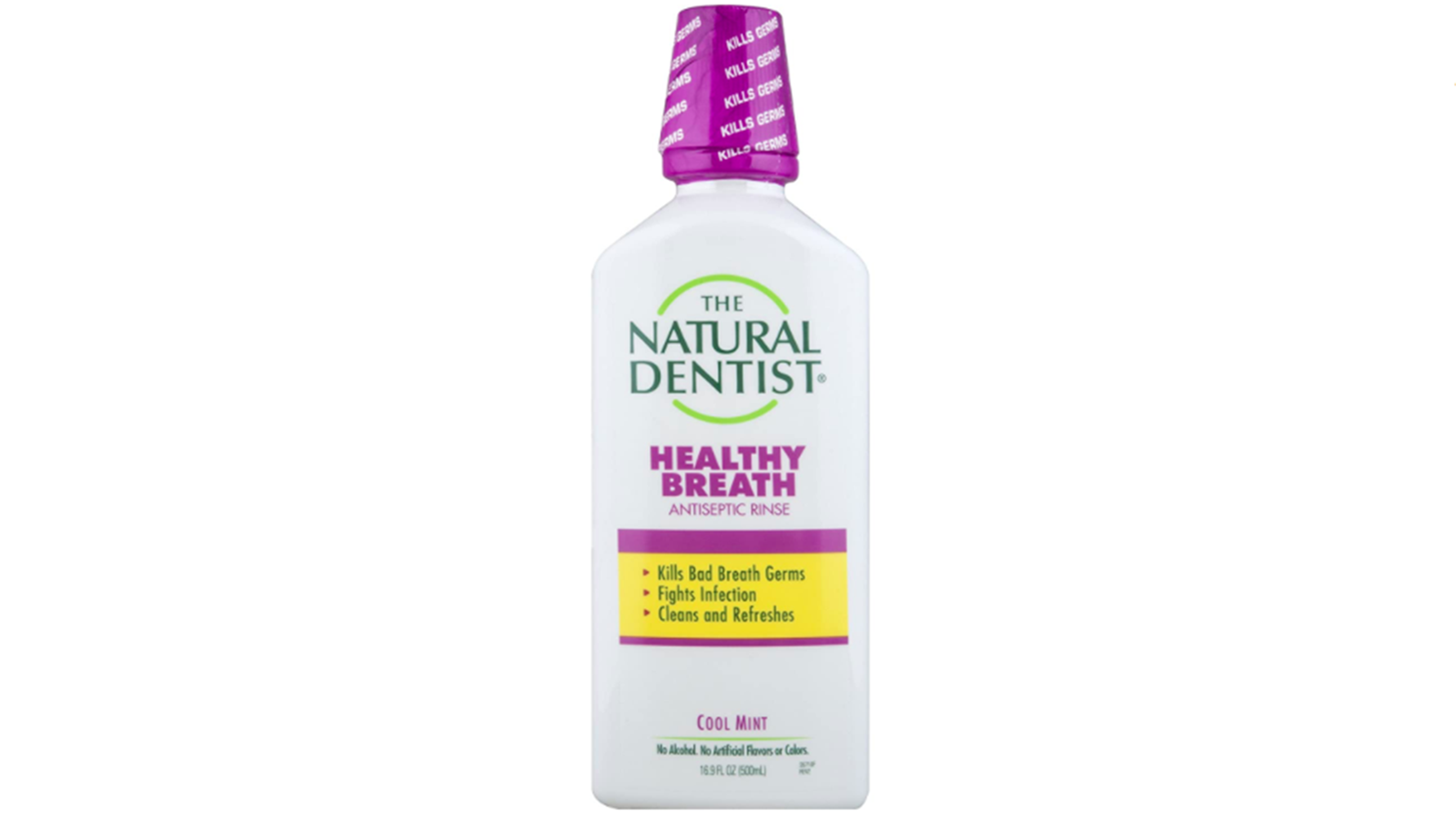 Product shot of a bottle of Natural Dentist Healthy Fresh mouthwash over a white background