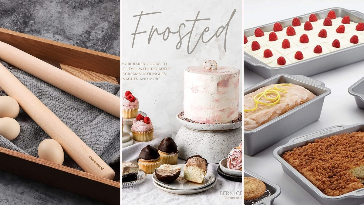 """Trolley roller;  the front of """"Frosted"""" Cook Book"""";  cakes in silver pans"""