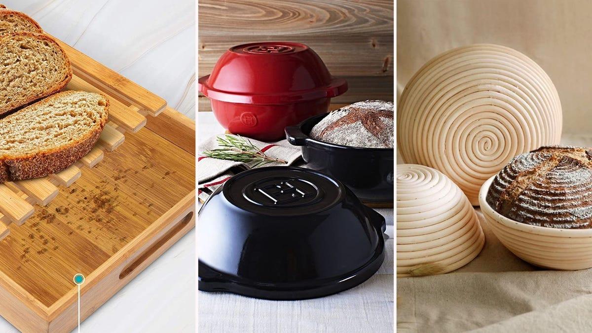 A wooden cutting board with bread on it; bread in a ceramic bread pot; bread in a proofing basket