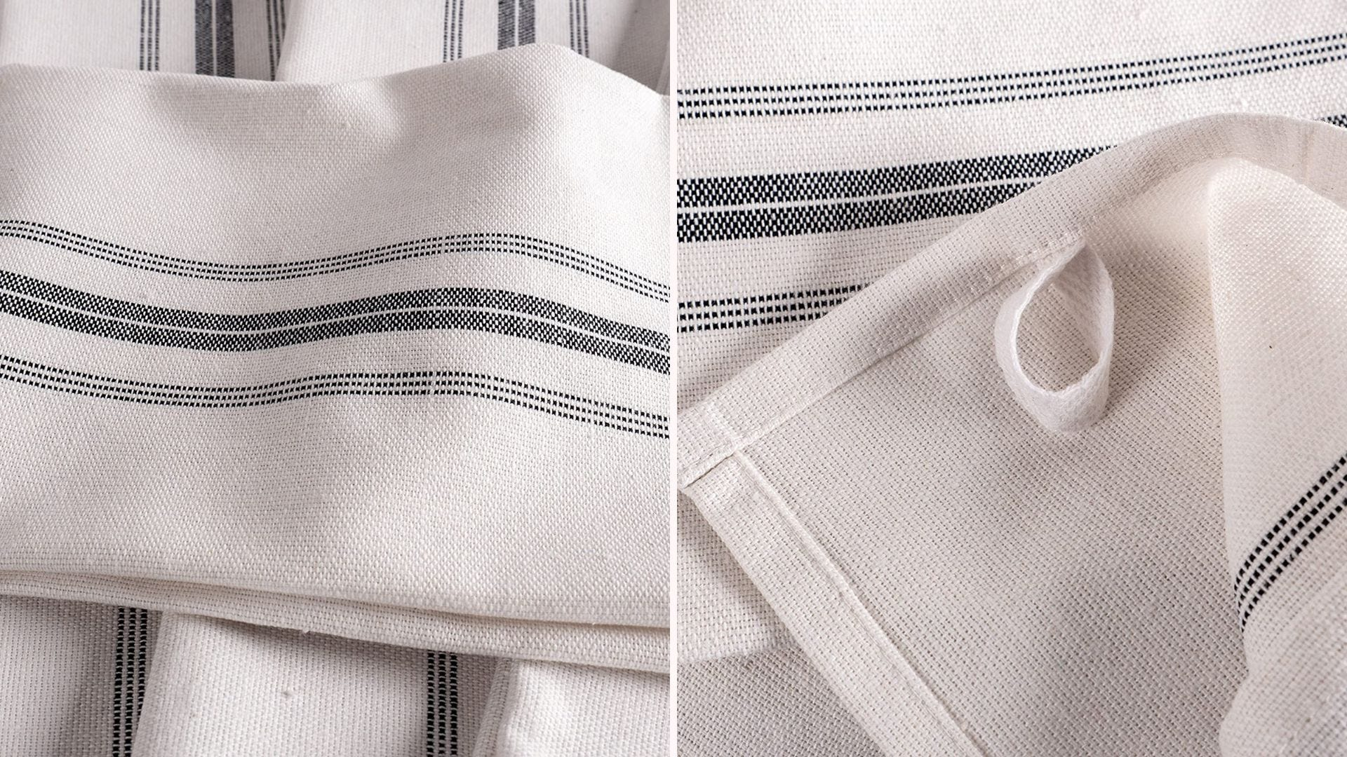 White kitchen towels with gray stripe design down the middle