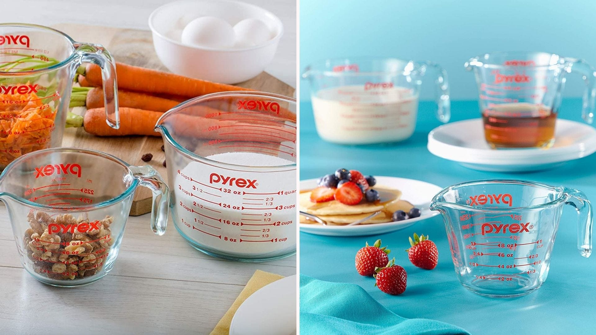 A set of glass measuring cups filled with ingredients