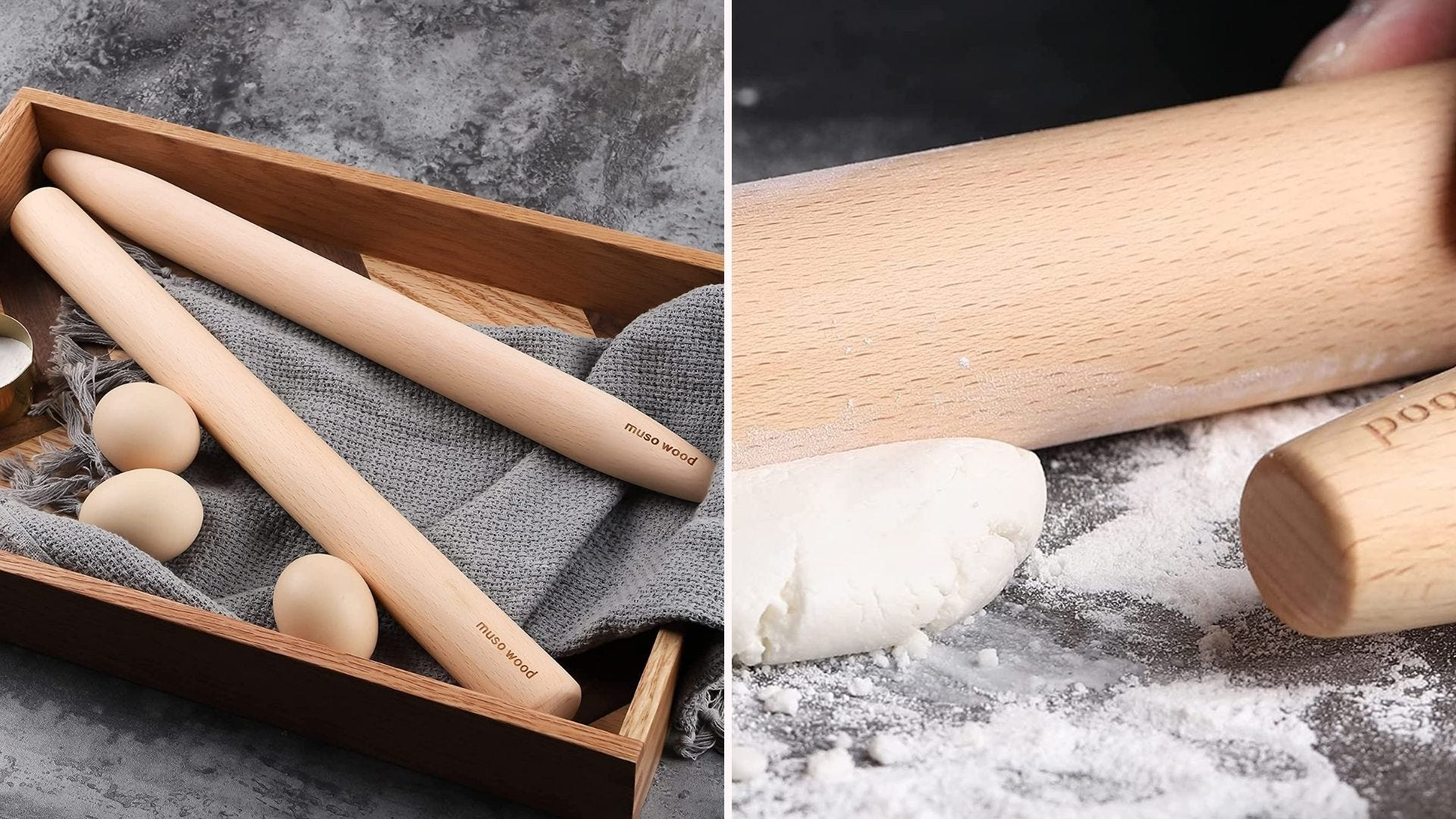 Wooden roll in a tray with towels and eggs;  a rolling pin used on dough