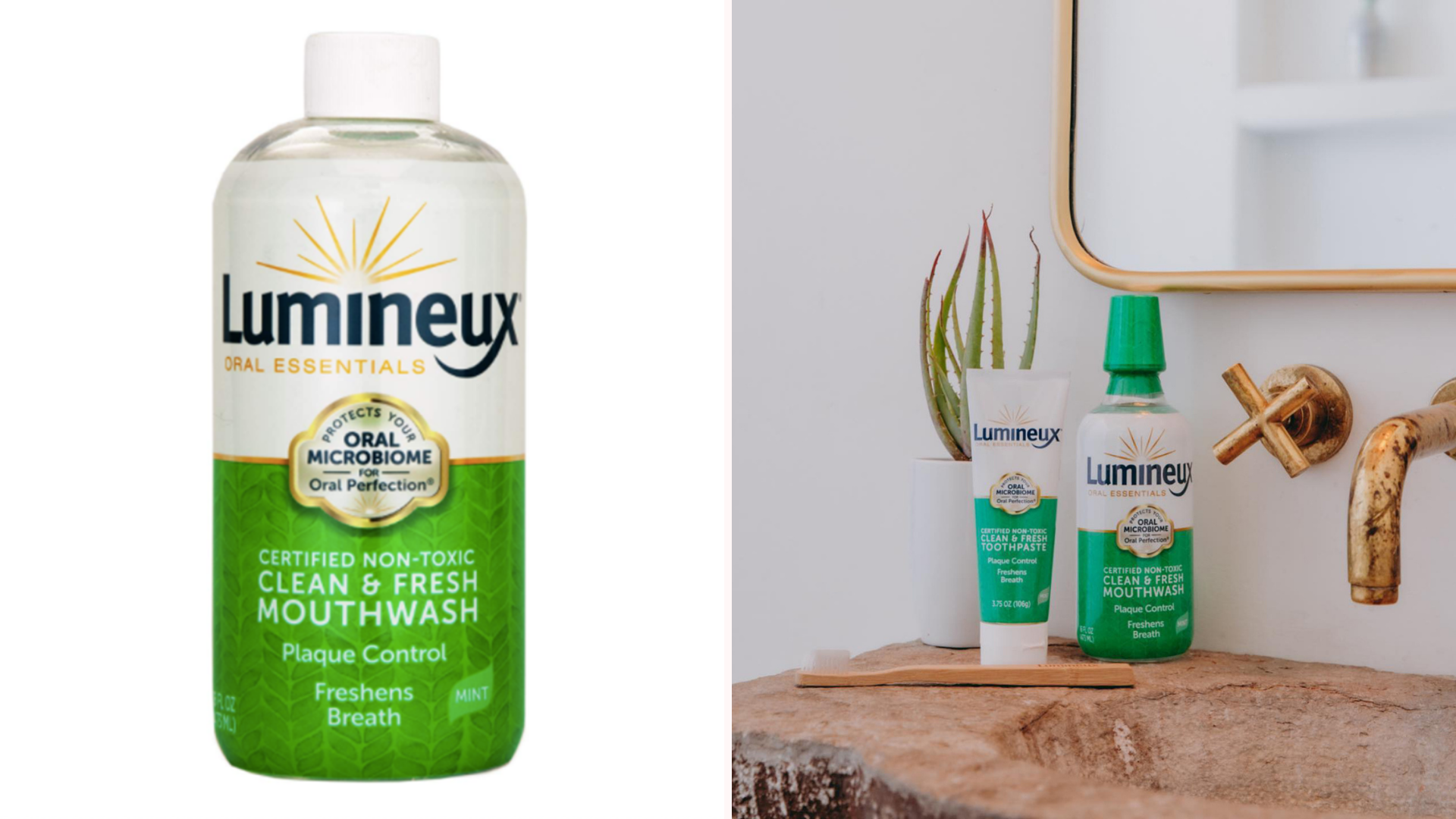 A product shot of a bottle of Luminous Oral Essential mouthwash next to a photo of the same product standing next to a toothpaste by the same brand standing by the sink and a mirror, with a toothbrush laying in front of them, and a little plant behind, and with the water tap visible to there right