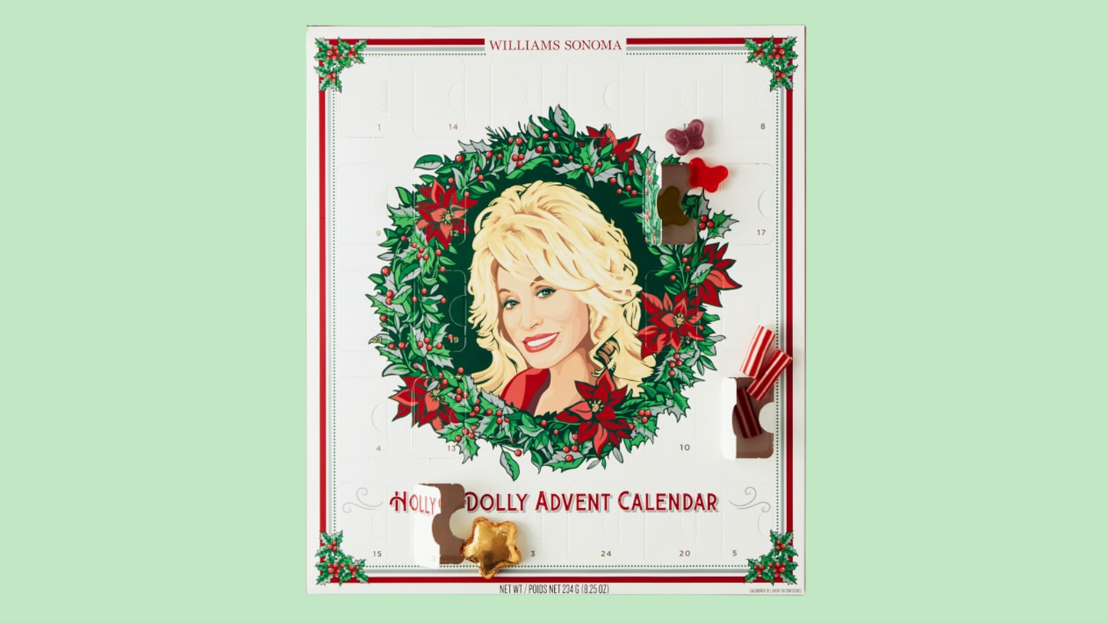 An advent calendar features a photo of Dolly Parton's face inside a wreath.
