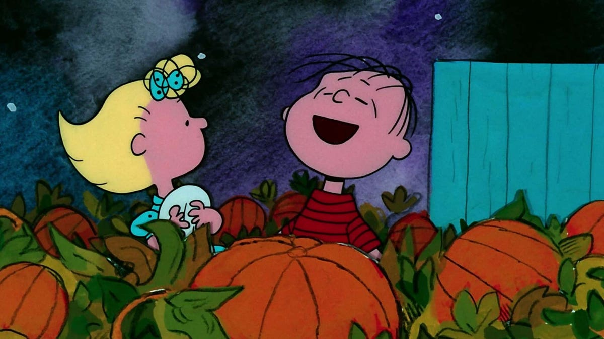 'Its the Great Pumpkin, Charlie Brown's' Linus and Lucy from the Peanuts are in a pumpkin patch.