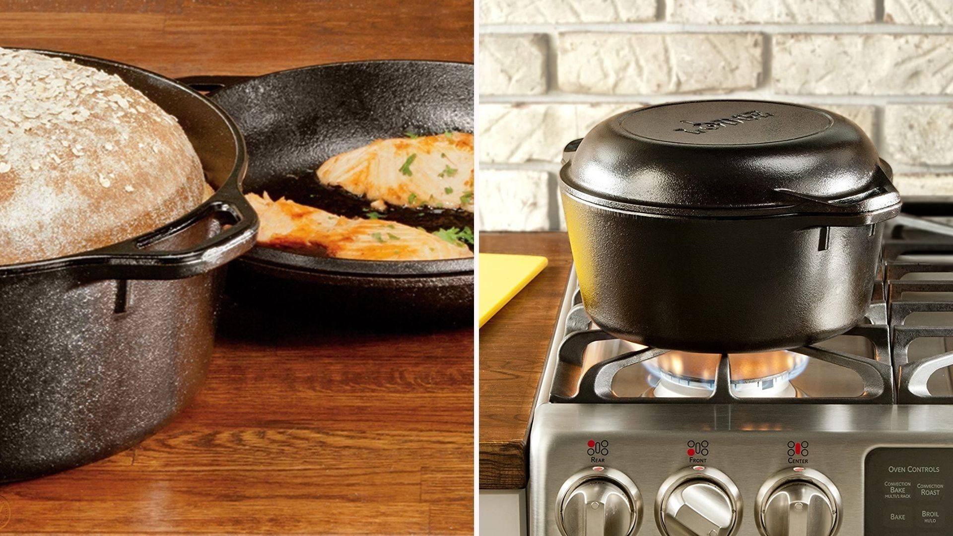 A cast iron Dutch oven with a loaf of bread in it; the same Dutch oven closed and sitting on a stove