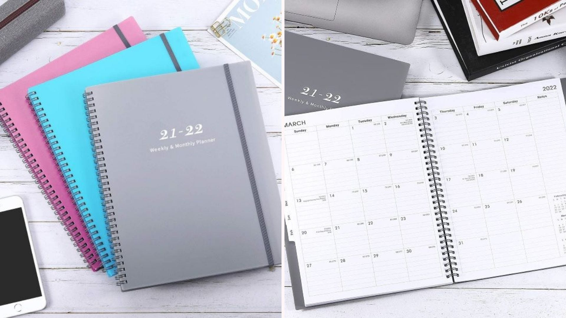 Maalbok 2021-22 planners in gray, green, and pink.